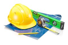 土木工程师的属性 建筑和住房设计的概念 库存图片