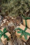 土气包裹圣诞礼物的包装纸,葡萄酒绿色丝带,松树 库存图片
