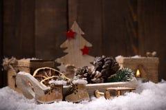 土气圣诞节背景 库存图片