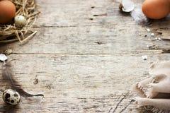 土气复活节背景用鹌鹑和鸡在秸杆ne怂恿 免版税库存照片