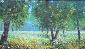 土气夏天庭院,树,花,篱芭,油画 库存图片
