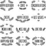 土气套贺卡 标志和框架 包含生日快乐, gratz,祝贺,欢呼,复活节快乐 库存例证