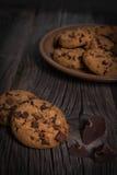 土气巧克力片的coockies 免版税库存照片