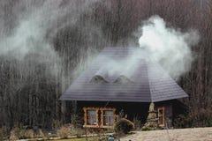 土气房子在森林 免版税库存图片