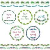 土气手速写了婚礼元素集 花卉乱画、叶子、分支、花、鸟、月桂树、横幅和框架 免版税库存图片