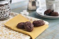 土气曲奇饼用可可粉和开心果 库存图片