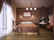 土气样式的一间黑褐色卧室与与一张wrought-iron床的一个壁炉 皇族释放例证