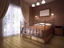 土气样式的一间黑褐色卧室与与一张wrought-iron床的一个壁炉 库存例证