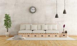土气样式的白色客厅 免版税库存照片