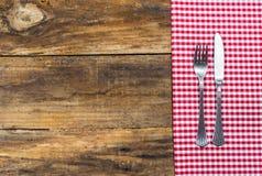 土气桌餐位餐具 库存照片