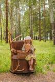 土气的帽子和的礼服的女孩和起动坐一个树桩在有面包和小圆面包篮子的森林  库存图片