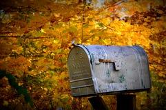 土气美国邮箱,秋天颜色 免版税库存照片