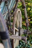 土气老用马拉的无盖货车-细节 免版税库存照片