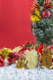 土气葡萄酒圣诞节装饰 免版税库存图片