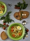 土气鸡汤用面条和菜 免版税库存照片