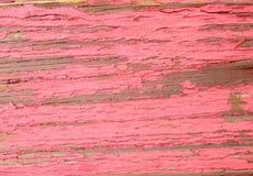 土气年迈的脏的概略的木委员会老木与红色油漆 免版税库存图片