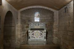 土牢的霍尔在圣约瑟夫` s教会墙壁下在老城拿撒勒在以色列 图库摄影