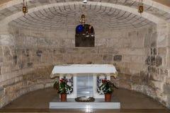 土牢的霍尔在圣约瑟夫` s教会墙壁下在老城拿撒勒在以色列 免版税库存照片