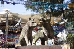 土狼雕象在科约阿坎区 图库摄影