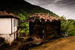 土耳其乡下村庄在风暴日 库存照片