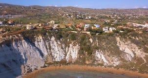 土耳其人的空中照片台阶用意大利语斯卡拉dei Turchi岩石峭壁 影视素材