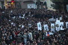 土耳其人,亚美尼亚人在Ä°stanbul纪念亚美尼亚'genocide' 免版税库存照片