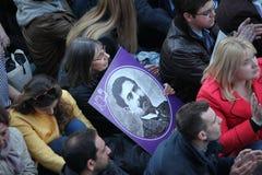 土耳其人,亚美尼亚人在Ä°stanbul纪念亚美尼亚'genocide' 图库摄影