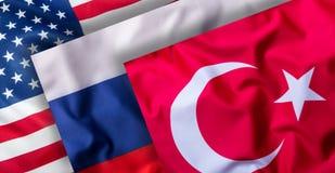 土耳其俄罗斯和美国旗子 世界旗子拼贴画  库存照片