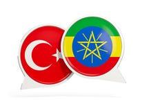 土耳其和埃塞俄比亚的旗子在闲谈泡影里面 向量例证