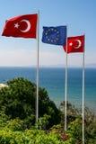 土耳其和欧盟旗子 库存照片