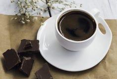 土耳其咖啡和巧克力 库存照片