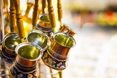 土耳其咖啡罐 库存照片