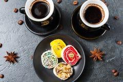 土耳其咖啡以土耳其快乐糖 库存图片