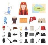 土耳其国家动画片,在集合收藏的黑象的设计 旅行和吸引力传染媒介标志股票网 库存例证