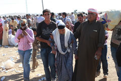 土耳其对叙利亚人开放了它的边界 免版税库存照片