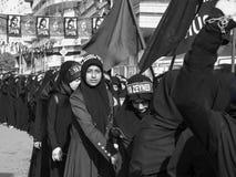 土耳其希雅的妇女在阿修罗游行参与 免版税图库摄影