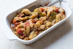 土耳其开胃菜食物茄子/茄子沙拉与橄榄油/Patlican Ezmesi 免版税库存图片