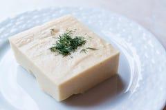 土耳其开胃菜Fava用莳萝和橄榄油/干豆纯汁浓汤/分裂豌豆 库存照片