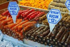 土耳其快乐糖在伊斯坦布尔义卖市场 免版税库存照片