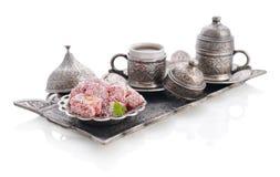 土耳其快乐糖用咖啡 库存图片