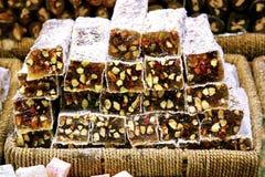 土耳其快乐糖用开心果 库存图片