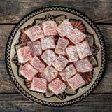 土耳其快乐糖,东部纤巧用榛子 库存图片