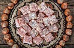 土耳其快乐糖,东部纤巧用榛子 免版税库存照片