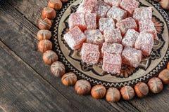 土耳其快乐糖,东部纤巧用榛子 图库摄影