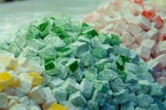 土耳其快乐糖3颜色 免版税库存图片