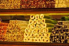 土耳其快乐糖rahat lokum在市场上 免版税图库摄影