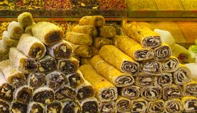 土耳其快乐糖rahat lokum在市场上 免版税库存照片