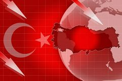 土耳其新闻危机背景信息 库存图片