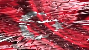 土耳其旗子, 3D例证 股票视频