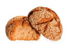 土耳其曲奇饼用在白色背景隔绝的芝麻 库鲁面团 Kurabiye 免版税库存照片